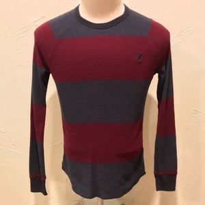 American Eagle Red & Gray Striped Mens XS Thermal